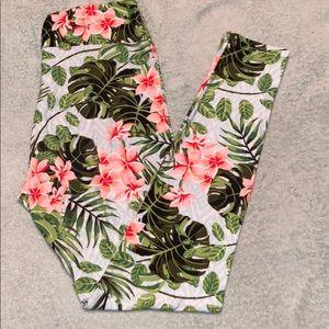 Lularoe tropical hibiscus print leggings OS